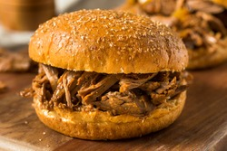 Homemade Pot Roast Shredded Beef Sandwich with Onions