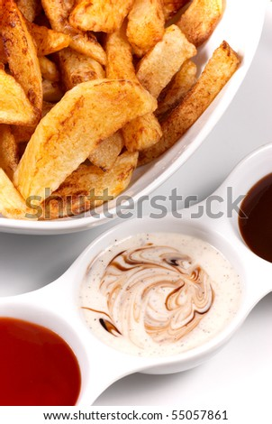 Homemade potato chips with dips