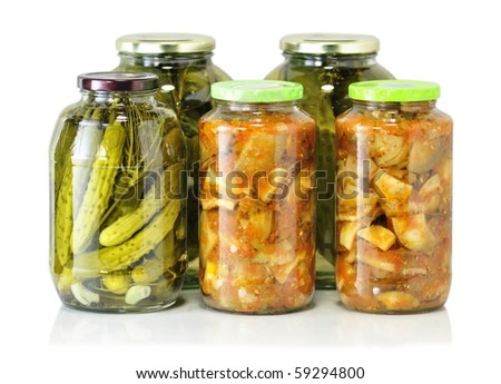 homemade preserved vegetables - stock photo