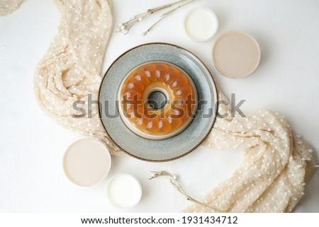 Homemade Pudding Moccacino served with milk fla sauce Stok fotoğraf ©