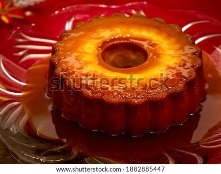 Homemade Pudding 'Pudim Caseiro' a Typical Portuguese Desert. Foto stock ©