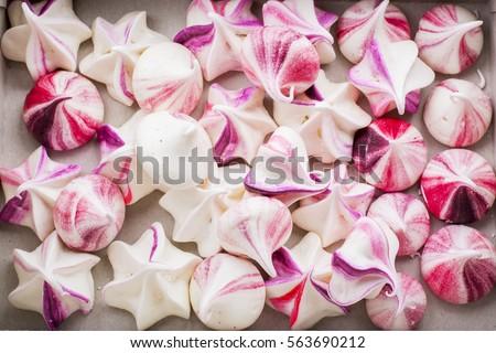 Homemade rainbow meringue kisses drops romantic pink Сток-фото ©