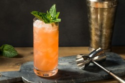 Homemade Refreshing Zombie Tiki Drink Cocktail with Pineapple and Mint
