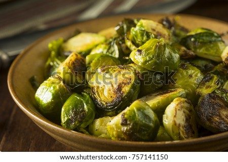 Homemade Roasted Green Brussel Sprouts in a Bowl
