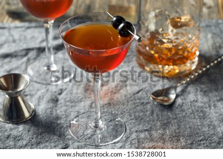 Homemade Rob Roy Cocktail with Scotch and Vermouth Zdjęcia stock ©