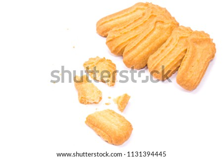 Homemade round ginger biscuit with jam, peanuts and raisins. Delicious honey sweetmeal digestive cookie isolated on a white background with light shadow. Cooking concept. Detailed closeup studio shot #1131394445