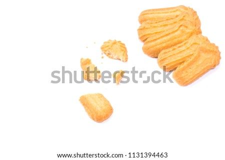 Homemade round ginger biscuit with jam, peanuts and raisins. Delicious honey sweetmeal digestive cookie isolated on a white background with light shadow. Cooking concept. Detailed closeup studio shot #1131394463