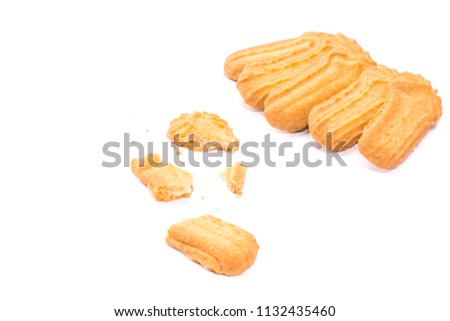 Homemade round ginger biscuit with jam, peanuts and raisins. Delicious honey sweetmeal digestive cookie isolated on a white background with light shadow. Cooking concept. Detailed closeup studio shot #1132435460