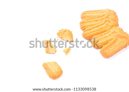 Homemade round ginger biscuit with jam, peanuts and raisins. Delicious honey sweetmeal digestive cookie isolated on a white background with light shadow. Cooking concept. Detailed closeup studio shot #1133098538