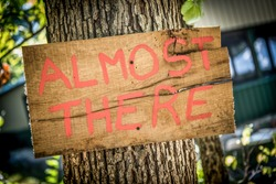Homemade rustic wedding sign that says