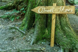 Homemade rustic wooden sign that says Almost There in the forest near the tree.