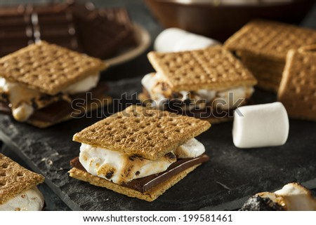 Homemade S'Mores With Marshmallows Chocolate And Graham Crackers Stock ...