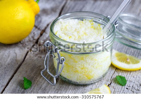 Homemade scrub made of sea salt, lemon peel and lemon juice