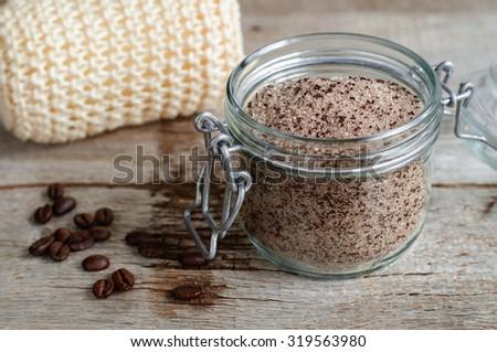 Homemade scrub made of sugar and ground coffee
