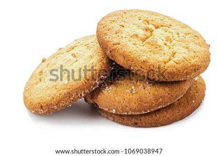 homemade shortbread cookie on white background, isolated, place for text #1069038947