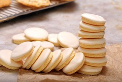 Homemade shortbread cookies with icing