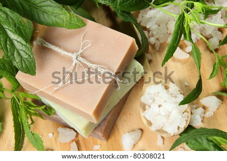 Homemade Soap and Sea Salt with Mint Leaves