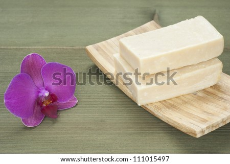 homemade soap stack with orchid