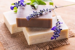 Homemade Soap with Lavender Flowers. Aromatic Natural Soap.