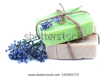 homemade soaps stack with lavender flower