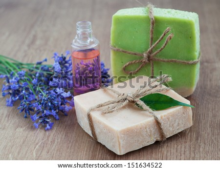 homemade soaps  with lavender flower and massage oil