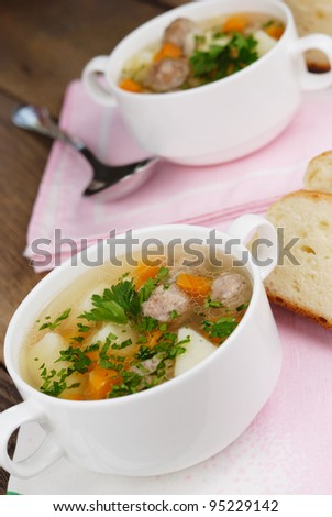 Homemade soup on the kitchen table
