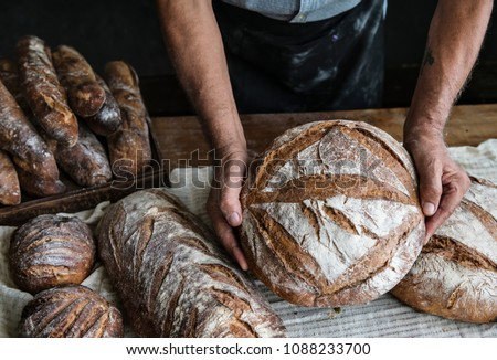 Homemade sourdough bread food photography recipe idea #1088233700