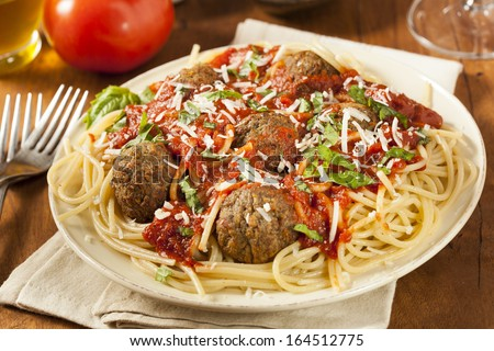 Homemade Spaghetti and Meatballs Pasta with Basil and Marinara