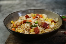 Homemade Spam Fried Rice selective focus