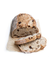 Homemade  spiced fruit bloomer loaf isolated on white