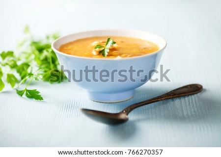 Homemade split pea soup with bacon. Selective focus