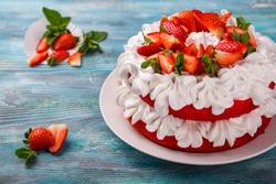 Homemade strawberry cheese cake with cream