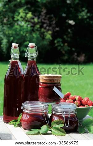 Homemade strawberry jam and squash - stock photo