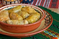Homemade stuffed cabbage leaves sarma sarmi dolma sarmale. Traditional Balkan cuisine.