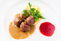 Homemade Swedish Meatballs and mashed potato