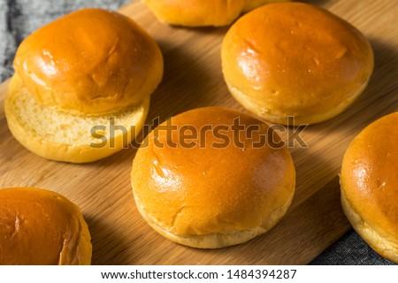 Homemade Sweet Brioche Hamburger Buns Ready to Eat Stock photo ©