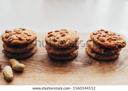 Homemade Sweet Homemade Dessert - Round Cookies with Nuts and Chocolate