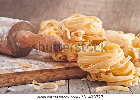 Homemade tagliatelle. Raw pasta on the wooden table.