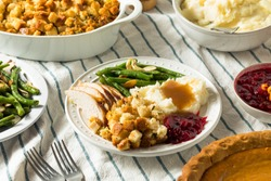 Homemade Thanksgiving Turkey Dinner with Stuffing Potatoes and Green Beans