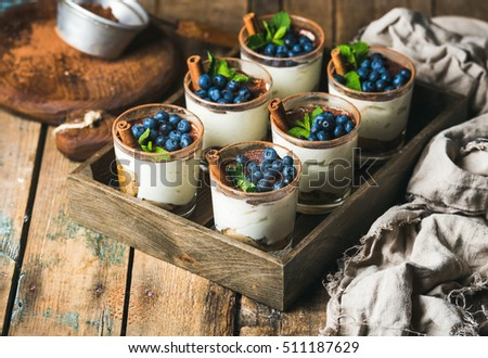 Homemade Tiramisu dessert in glasses with cinnamon, mint and fresh blueberry in wooden tray over rustic wooden background, selective focus, copy space, horizontal composition