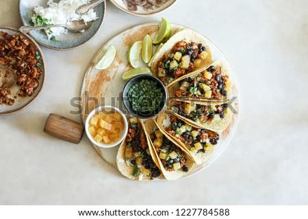 Homemade vegan taco food photography