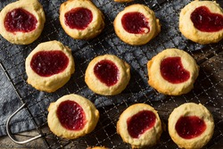 Homemade Warm Strawberry Thumbprint Cookies Ready to Eat