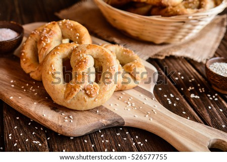 Homemade whole meal pretzels with sesame and salt