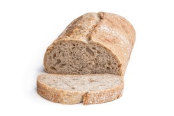 Homemade  wholemeal bloomer loaf isolated on white