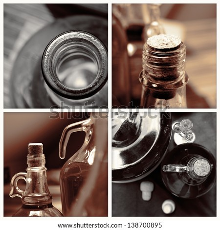 homemade wine bottles vintage sepia collage