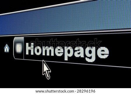 Homepage concept on an internet browser URL address