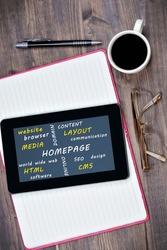 Homepage word on digital tablet close up