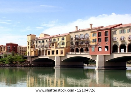 Homes and shops built over Lake Las Vegas, Nevada.