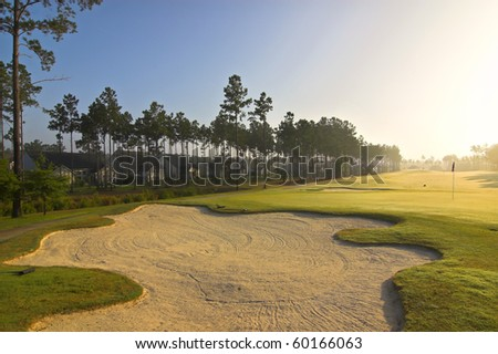 homes on beautiful golf course in early morning light