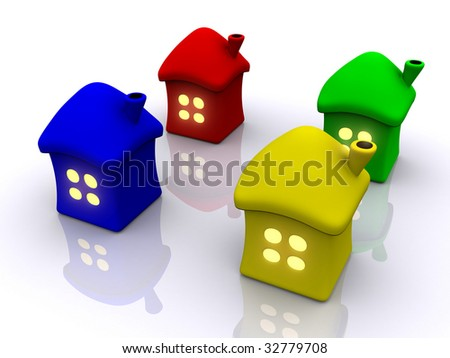 homes with light in window. 3d #32779708
